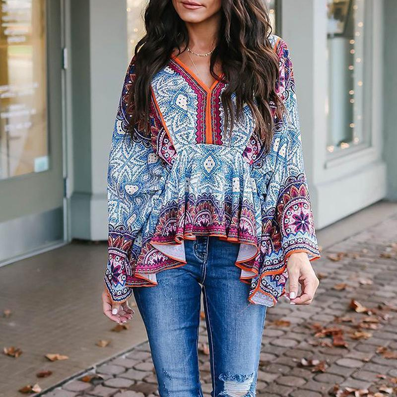 Retro Printed Loose V Neck Shirt