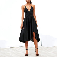 Load image into Gallery viewer, Sexy Deep V Collar Plain Asymmetrical Skater Dress