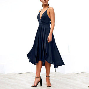 Sexy Deep V Collar Plain Asymmetrical Skater Dress