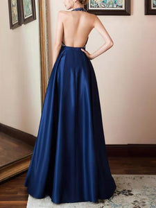 Sexy Off-Shoulder V Neck Splicing Maxi Dresses
