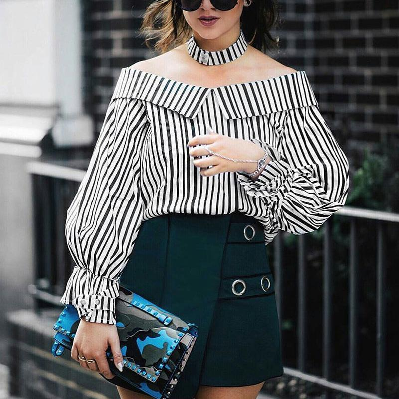 Sexy Off Shoulder Stripe Long Sleeve Shirt