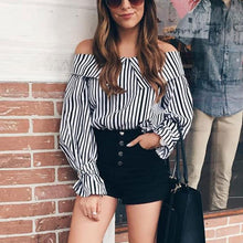 Load image into Gallery viewer, Sexy Off Shoulder Stripe Long Sleeve Shirt