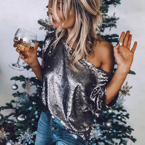 Sexy Off Shoulder Plian Loose Sequins Decorated Blouse