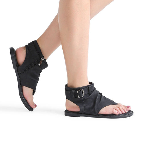 Simple Summer Plain Open Toed Zipper Flat Sandal