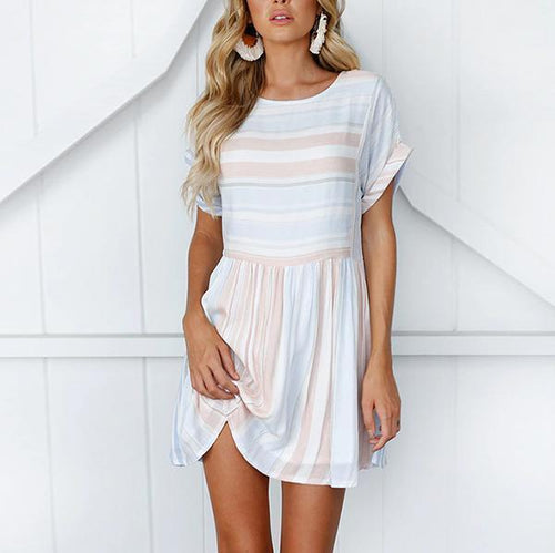 Fashion Round Neck Short Sleeve Stripe Mini Dress
