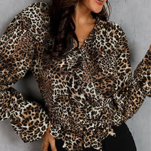 Load image into Gallery viewer, Fashion V Neck Ruffled Leopard Print Shirt