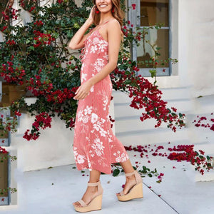 Fashion Sling Slim Floral Printed Jumpsuit