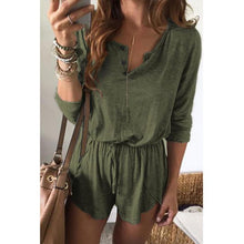 Load image into Gallery viewer, Casual V Collar Plain Loose Defined Waist Jumpsuit