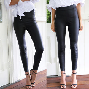 Sexy High Waist Tight PU Leather Pants