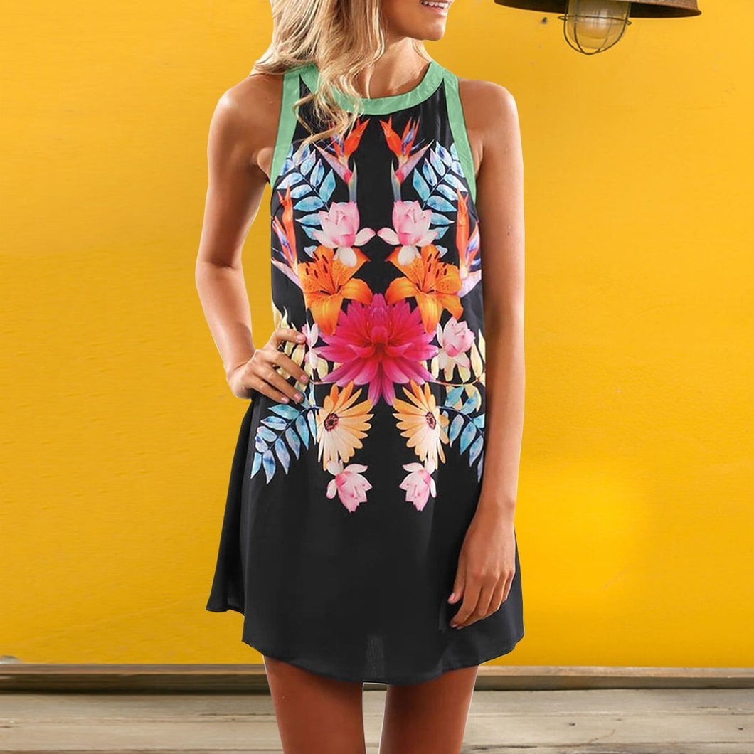 Printed Round Neck Sleeveless Vest Mini Dress