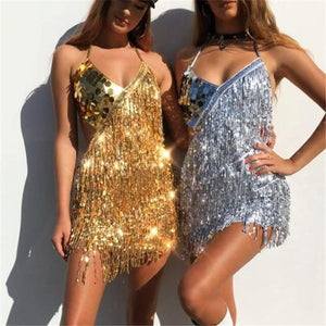Nightclub Women's Show Beads Tassel Dress