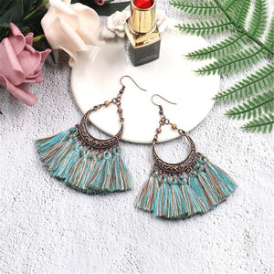 Vintage Bronzed Hollowed-Out Crescent Moon Tassel Earrings