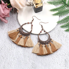 Load image into Gallery viewer, Vintage Bronzed Hollowed-Out Crescent Moon Tassel Earrings