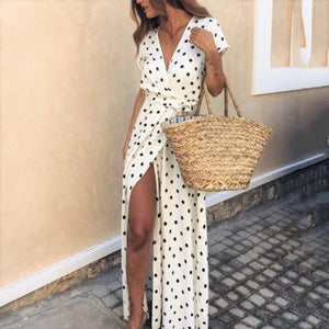 Chic Deep V Collar Polka Dot Printed Strappy Vacation Maxi Dress