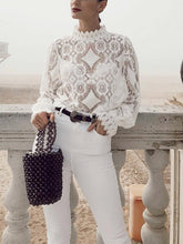 Load image into Gallery viewer, Fashion Lace Splicing Long Sleeve Shirt