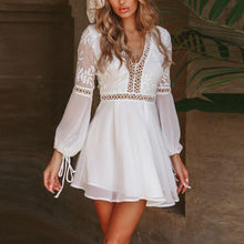 Load image into Gallery viewer, Sweet Plain V Collar Split Joint Defined Waist Vacation Dress