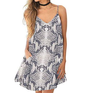 Fashion V Collar Floral Printed Vacation Dress