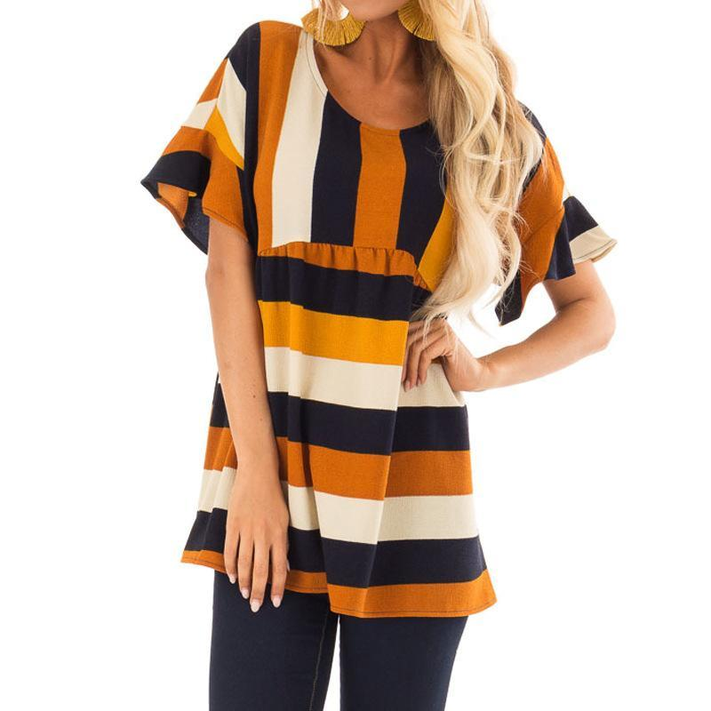 Casual Loose Color   Collision Strips Printing Shirt