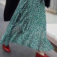 Load image into Gallery viewer, Sexy Floral Printed Asymmetrical Green Chiffon Dress