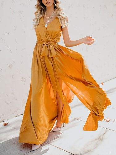 Pure Colour Belted Sleeveless Maxi Dresses