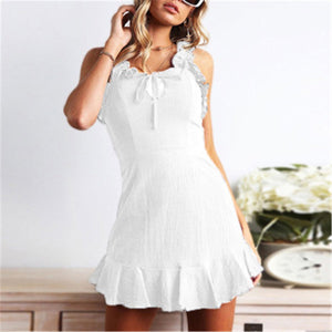 Fashion Slim Ruffled Plain Backless Vacation Dress