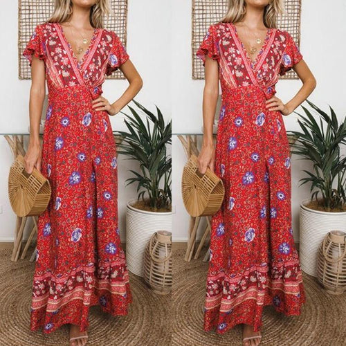 Deep V Print Holiday Split Maxi Dress