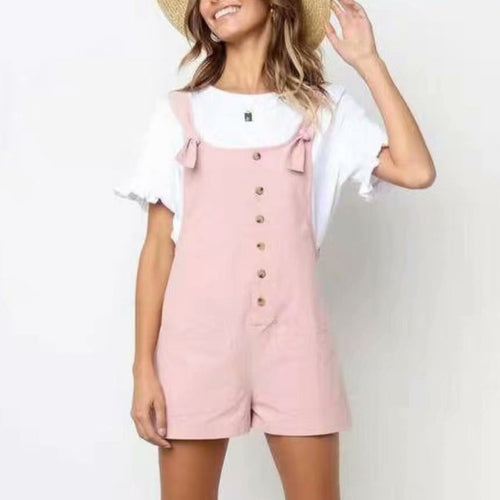 Single-Breasted Bide Pocket Casual Rompers