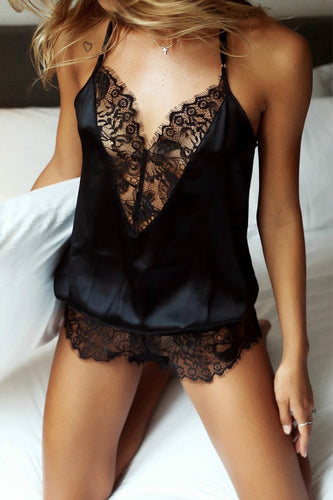 Sexy V-Neck Lace Stitching Suspender Jumpsuit