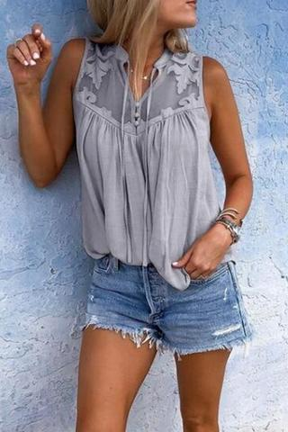 Chiffon-Stitched Lace V-Neck   Sleeveless Shirt Top