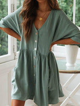 Load image into Gallery viewer, Cotton And Linen Solid Color V-Neck Button Dress
