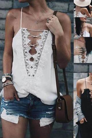 Lace Sling Front And Rear Straps Tie Rope Lace Vest