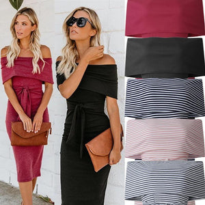 Fashion Off Shoulder Backless  Slim Dress
