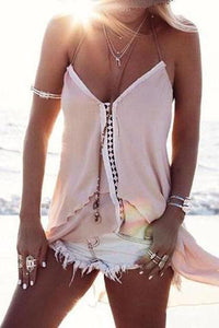 V-Neck Stitching Lace Halter   Chiffon Top