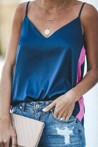 Summer Shoulder Straps Silk And Satin Blue Patchwork Top