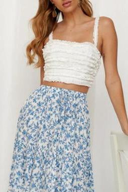 Slinged Ruffled Halter Top With Backless