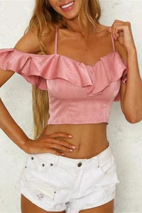 V-Neck Halter Strap Ruffled Halter Crop Top