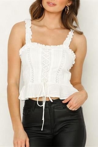 Shoulder Strap Backless Slim Straps Short Top