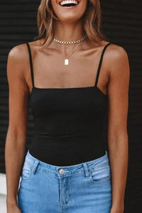 Solid Color Slim Backless Sling Top