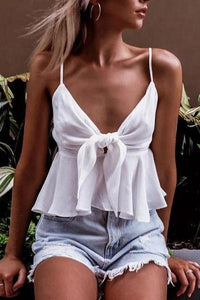 Chiffon Sling Pleated Bow V-Neck   Top