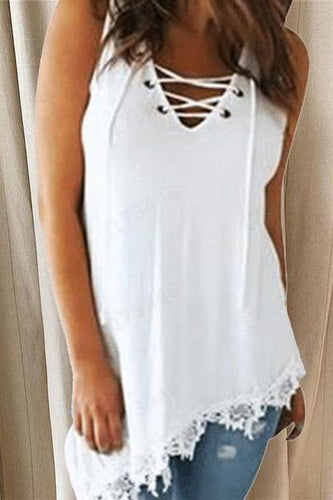 Sexy V-Neck Solid Color Bandage Irregular Hem Lace Top