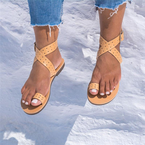 Summer Cover Toe Crossover Buckle Hollow Sandal