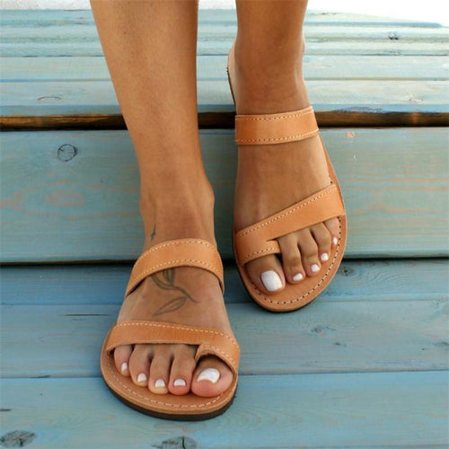 Summer Cover Toe Simplicity Solid Color Flat Bottom Slippers