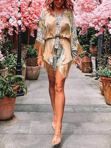 Bohemian V Neck Tassel Belted Printed Colour Batwing Sleeve Midi Dress