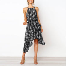 Load image into Gallery viewer, Fashion Polka-Dot Laced Irregular Dress