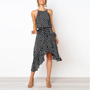 Fashion Polka-Dot Laced Irregular Dress