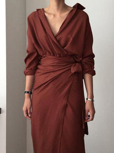 Sexy V Collar Pure Color Package Hip Work Maxi Dress