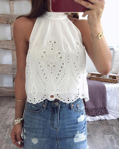 Halter Short Openwork Lace Sleeveless T-Shirt