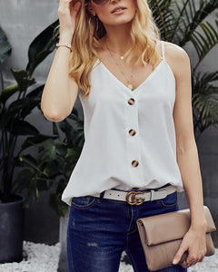 V-Neck Vest Solid Color Loose Sleeveless T-Shirt