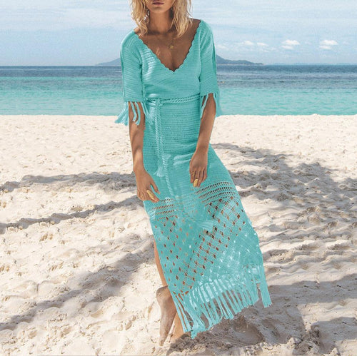 Knitted Fringed Openwork Strapless Long Skirt Bikini Outerwear Knit Holiday Shirt