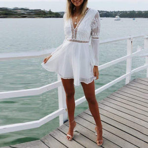 Sexy V-Neck Halter Lace   Stitching Long Sleeve Mini Dress(Video)